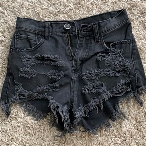 UNIF Black high waisted ripped black jean shorts